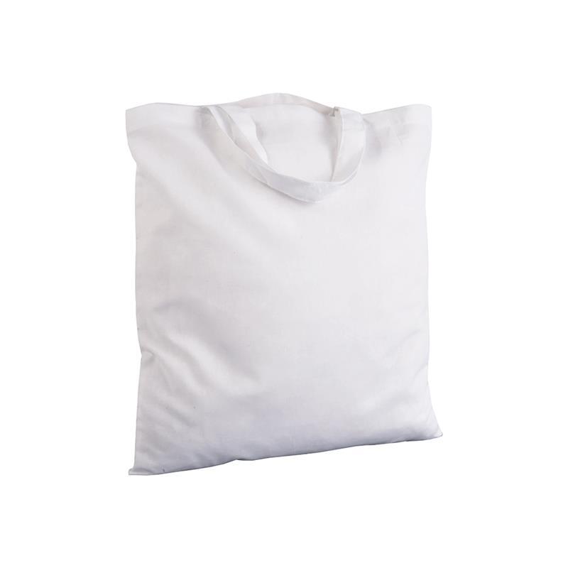 shopper in cotone bianco senza soffietti manici corti