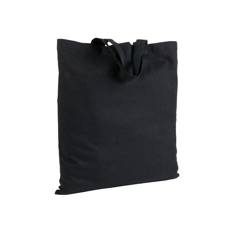 shopper in cotone nero senza soffietti manici corti