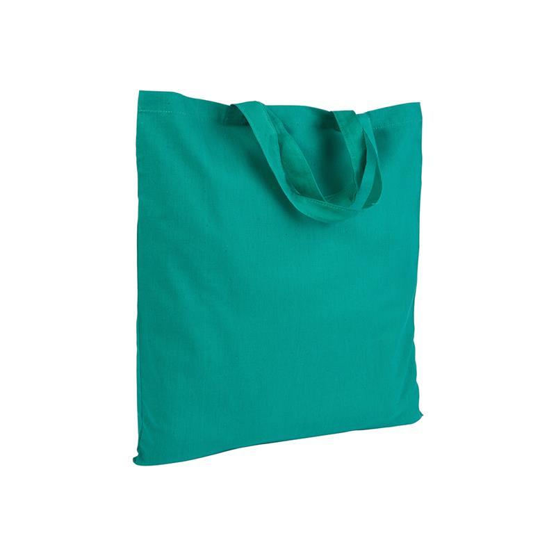 shopper in cotone verde senza soffietti manici corti