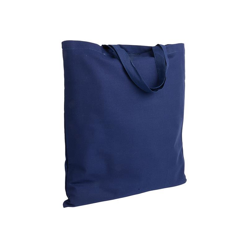 shopper in cotone blu navy senza soffietti manici corti