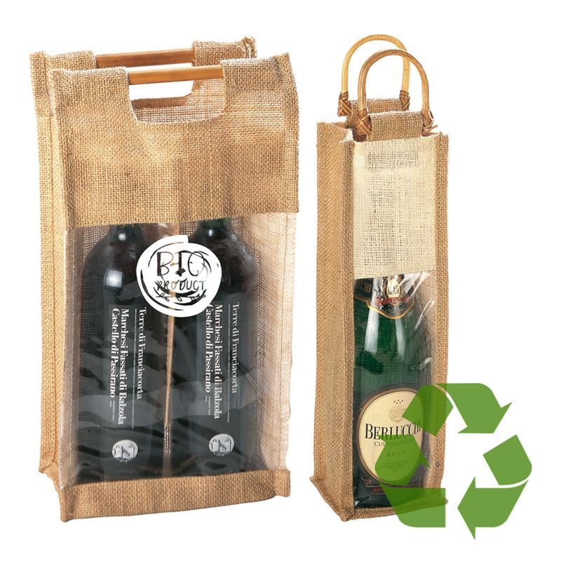 portabottiglia in juta naturale con finestra e manici in bamboo