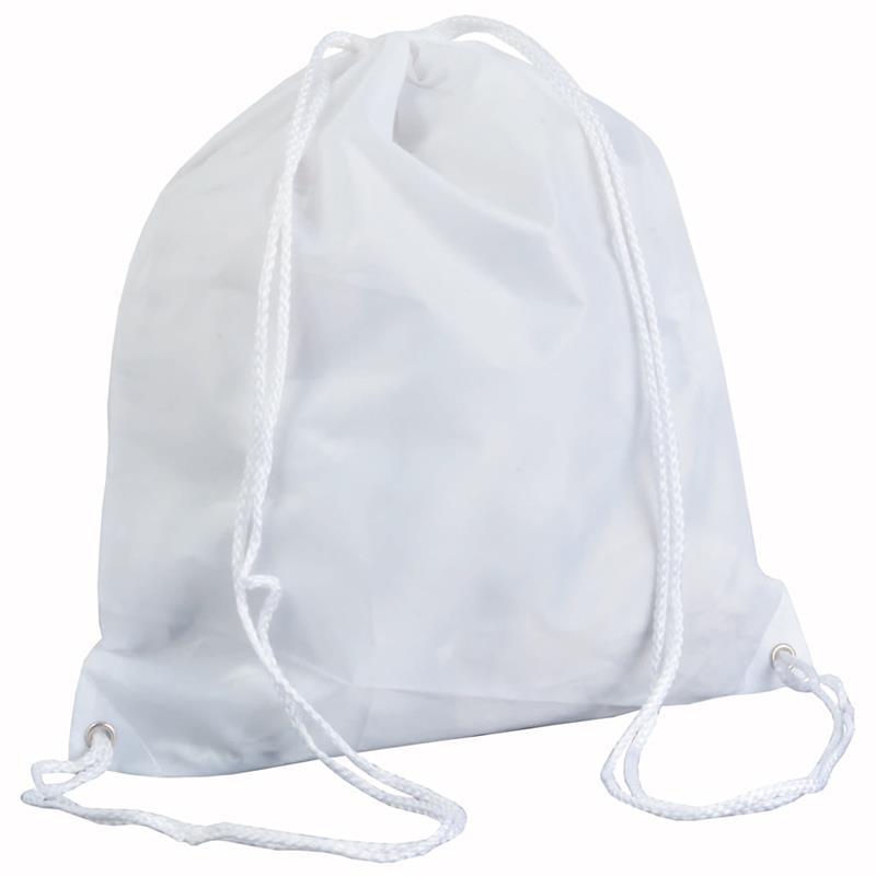 sacca in poliestere bianco con lacci bianchi