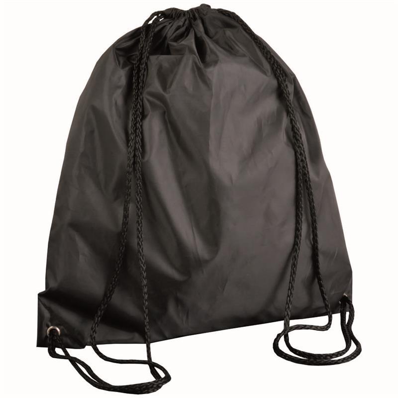 sacca in poliestere nero con lacci neri