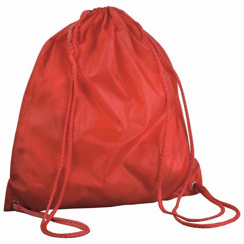 sacca in poliestere rosso con lacci rossi