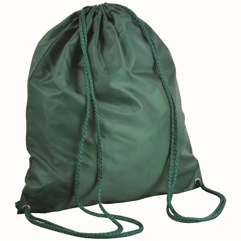 sacca in poliestere verde con lacci verdi