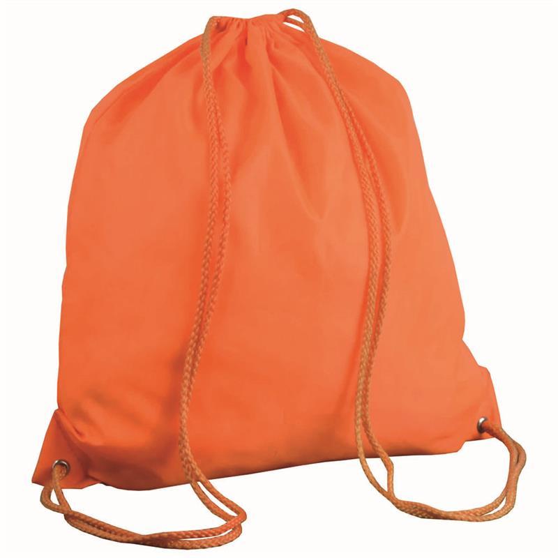 sacca in poliestere arancio con lacci arancio