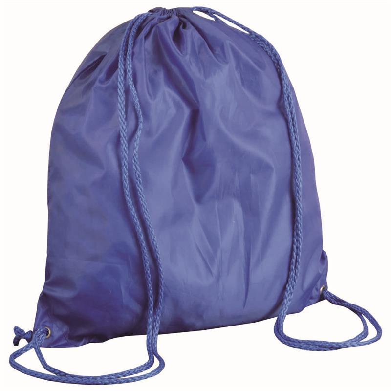 sacca in poliestere blu royal con lacci blu royal
