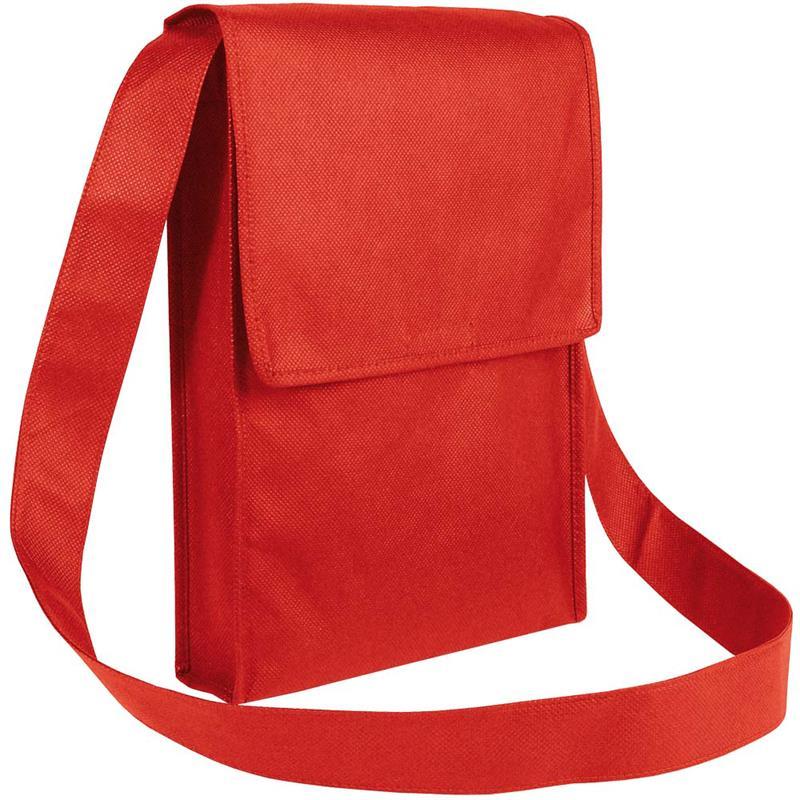 bag con pattella in tnt rosso con soffietti laterali e tracolla