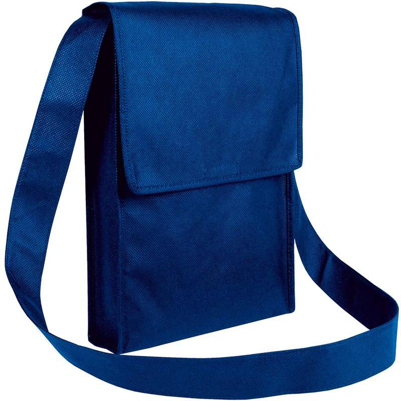 bag con pattella in tnt blu navy con soffietti laterali e tracolla