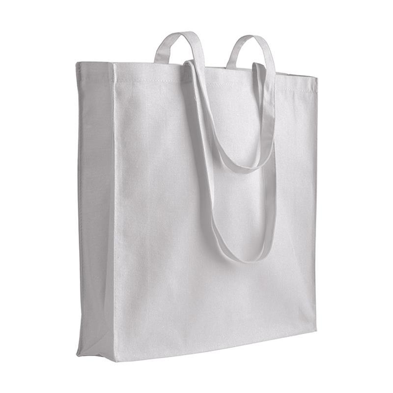 shopper in cotone bianco con soffietti manici cotone