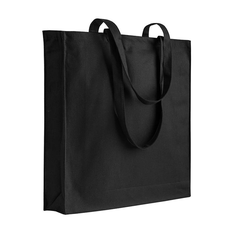 shopper in cotone nero con soffietti manici cotone