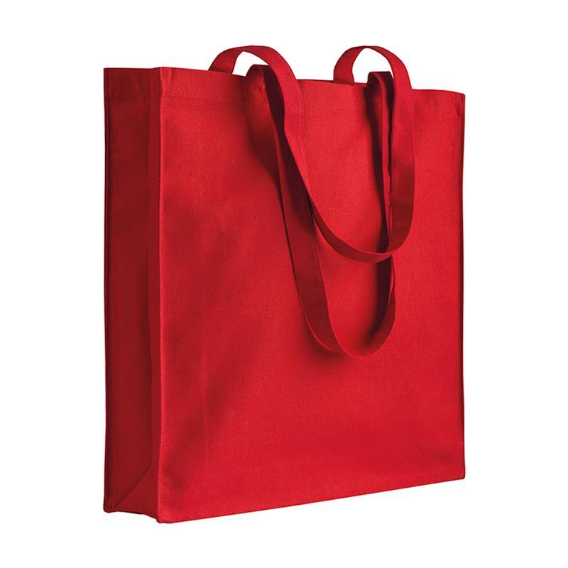 shopper in cotone rosso con soffietti manici cotone