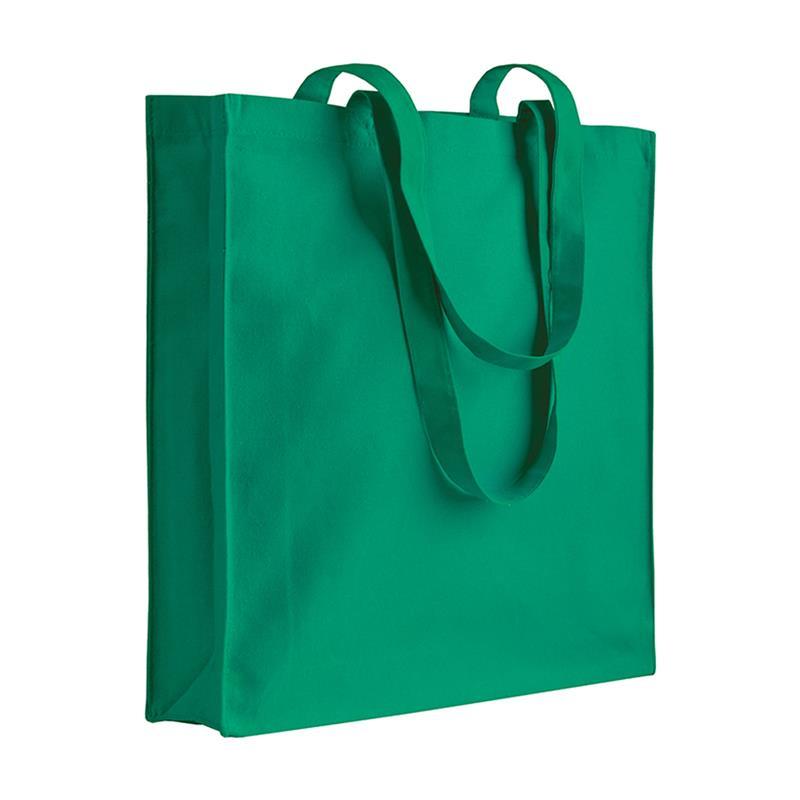 shopper in cotone verde con soffietti manici cotone