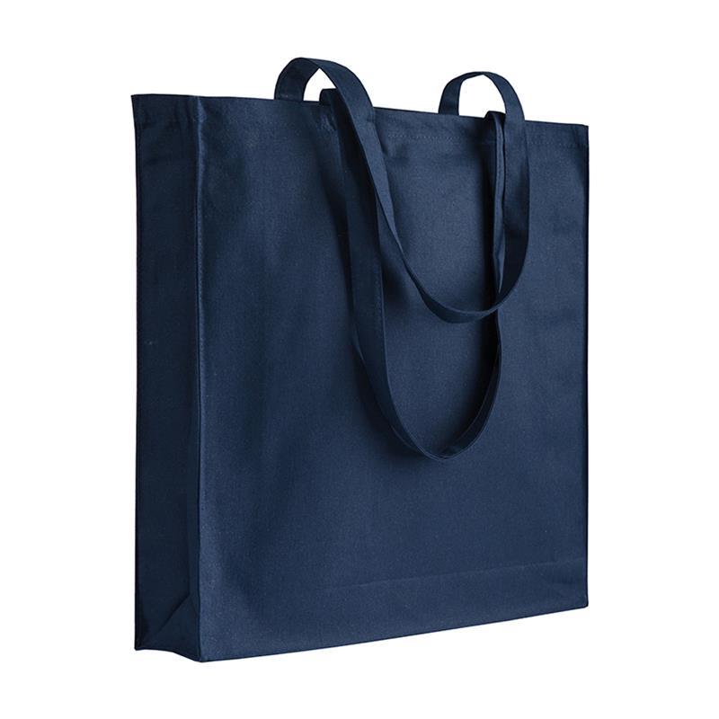 shopper in cotone blu navy con soffietti manici cotone