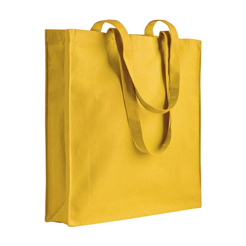 shopper in cotone giallo con soffietti manici cotone