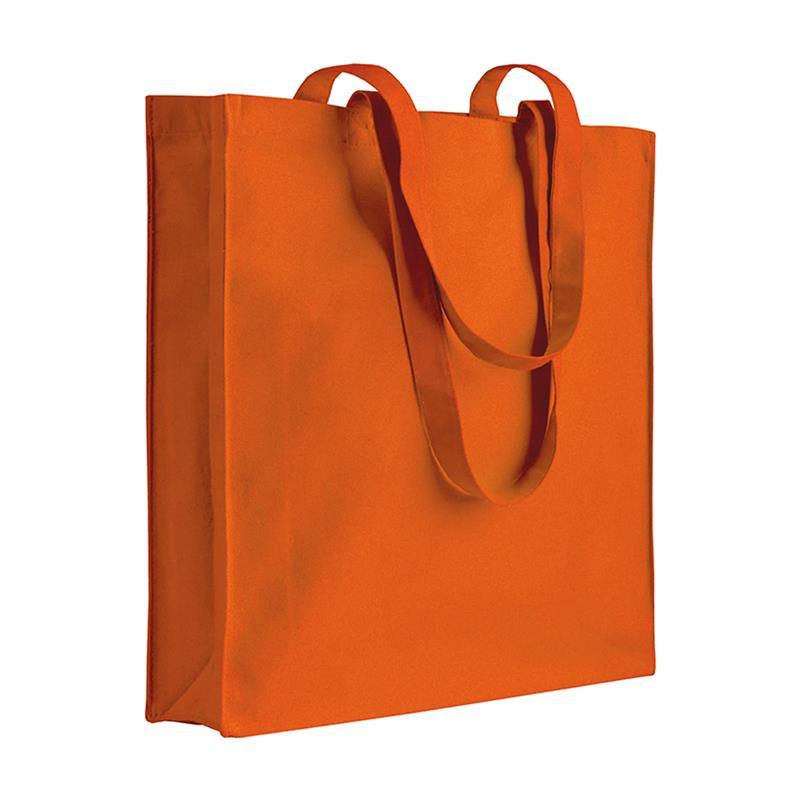 shopper in cotone arancio con soffietti manici cotone