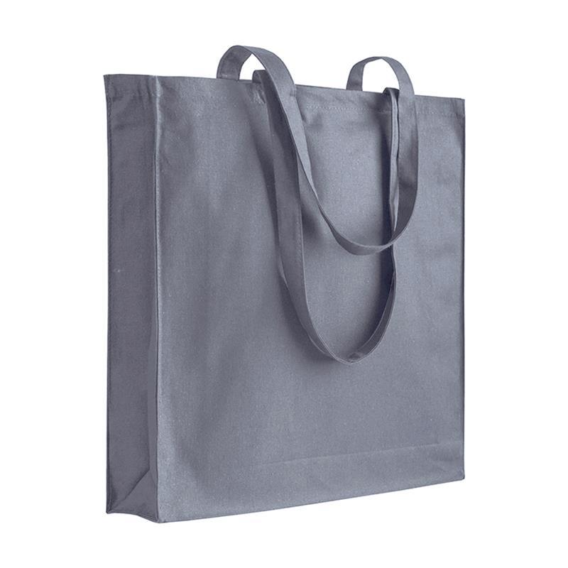 shopper in cotone grigio con soffietti manici cotone