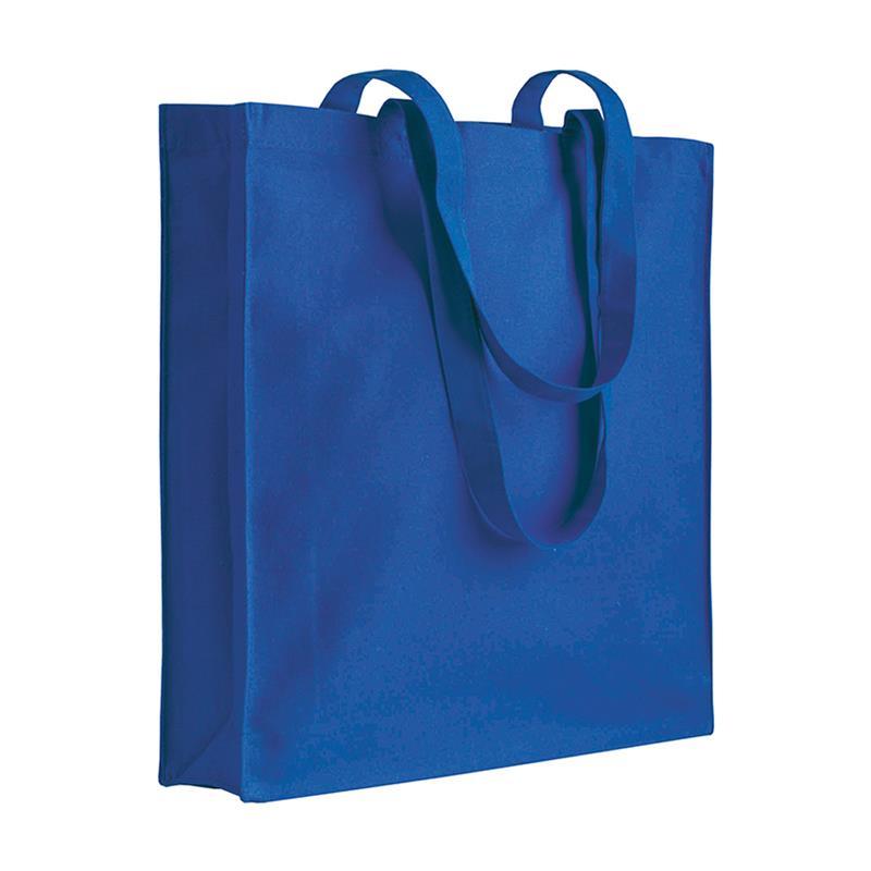 shopper in cotone blu royal con soffietti manici cotone