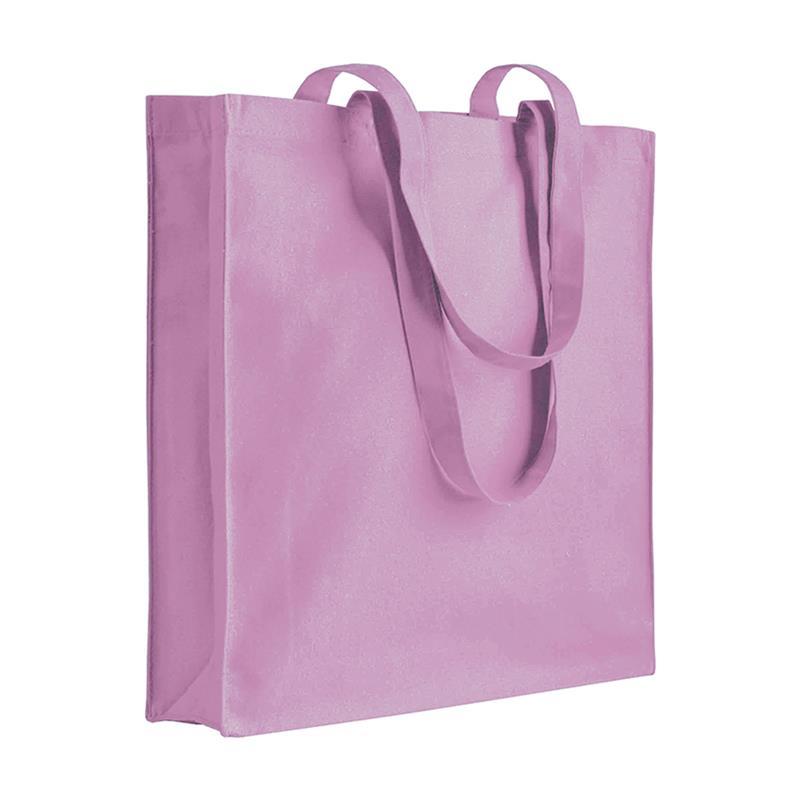 shopper in cotone rosa con soffietti manici cotone