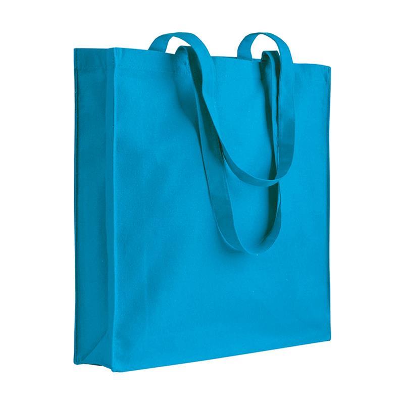 shopper in cotone celeste con soffietti manici cotone