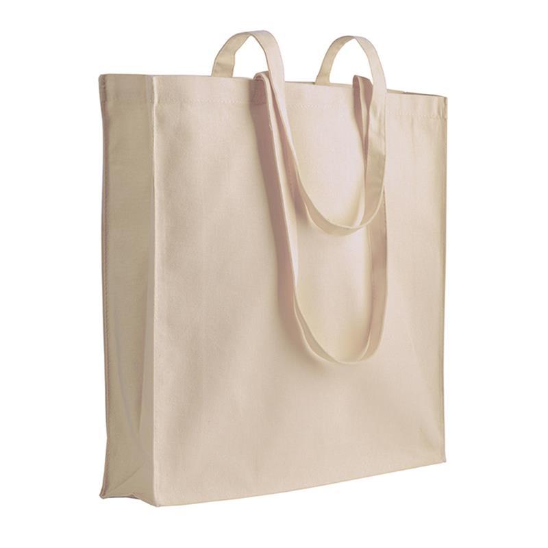 shopper in cotone naturale con soffietti manici cotone