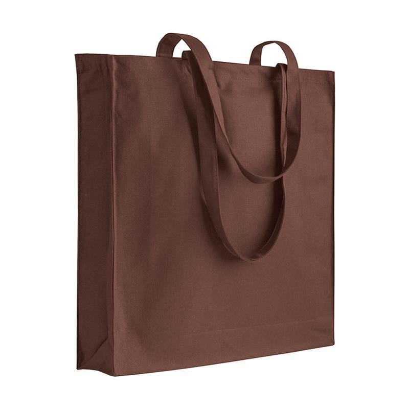 shopper in cotone marrone con soffietti manici cotone