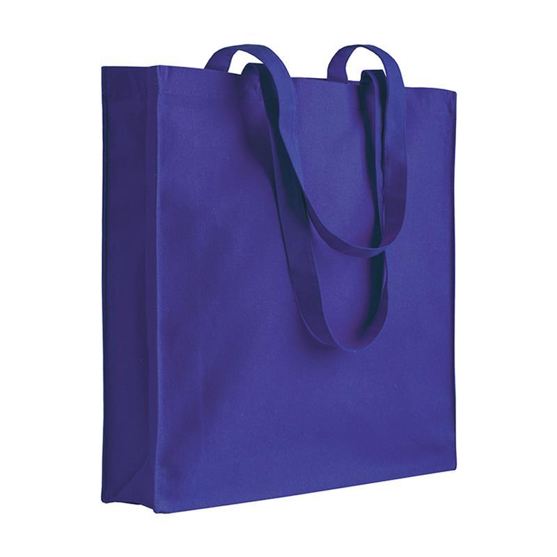 shopper in cotone viola con soffietti manici cotone