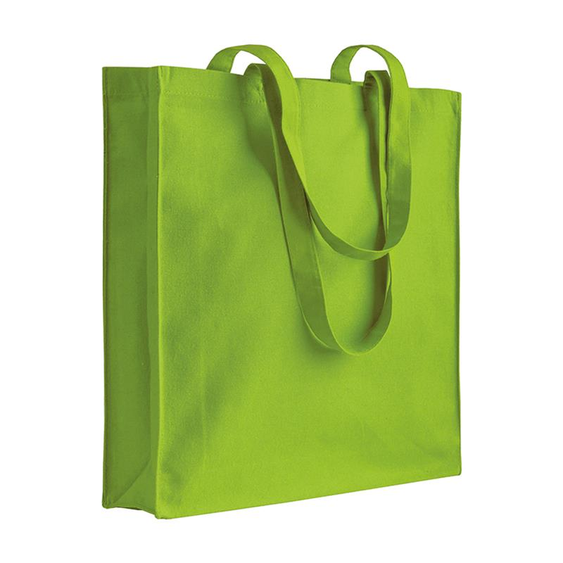 shopper in cotone verde mela con soffietti manici cotone