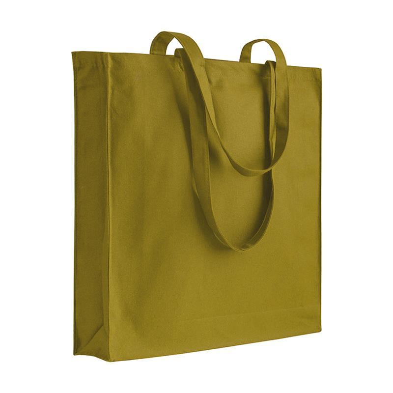 shopper in cotone verde militare con soffietti manici cotone