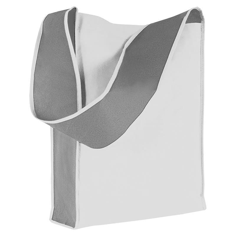 bag bicolore in tnt bianco/grigio con soffietti laterali e tracolla
