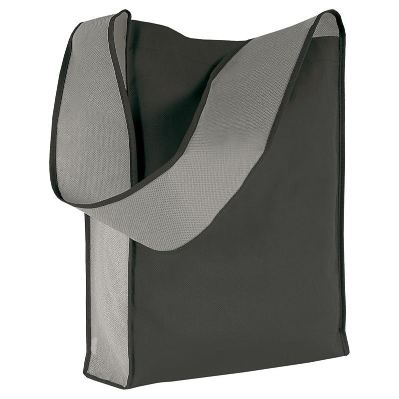 bag bicolore in tnt nero/grigio con soffietti laterali e tracolla