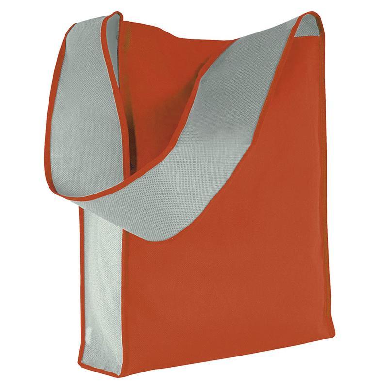 bag bicolore in tnt rosso/grigio con soffietti laterali e tracolla