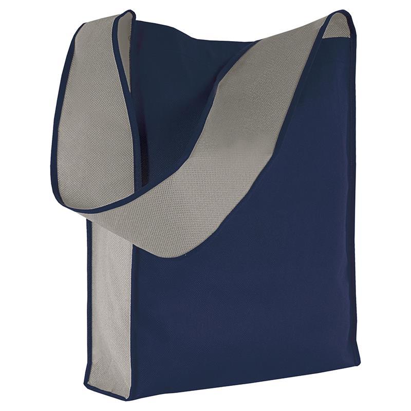 bag bicolore in tnt blu navy/grigio con soffietti laterali e tracolla