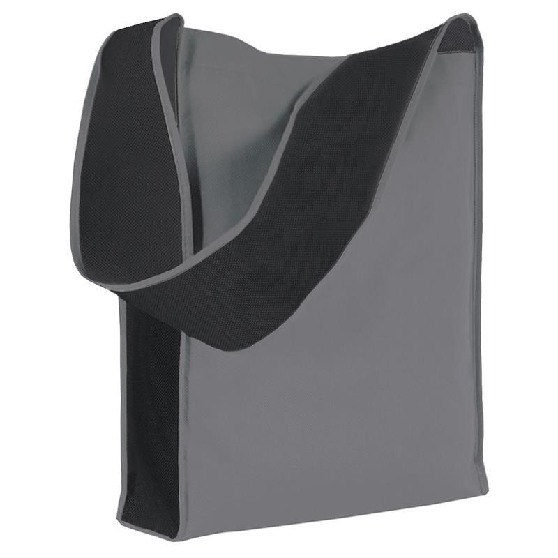 bag bicolore in tnt grigio/nero con soffietti laterali e tracolla