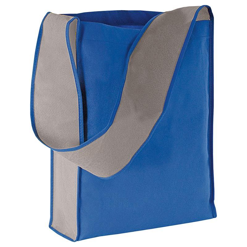 bag bicolore in tnt blu royal/grigio con soffietti laterali e tracolla