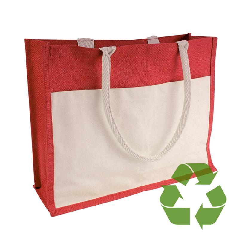 bag rossa in cotone e juta interno cerato soffietto e tasca frontale