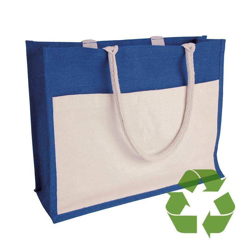 bag blu in cotone e juta interno cerato soffietto e tasca frontale