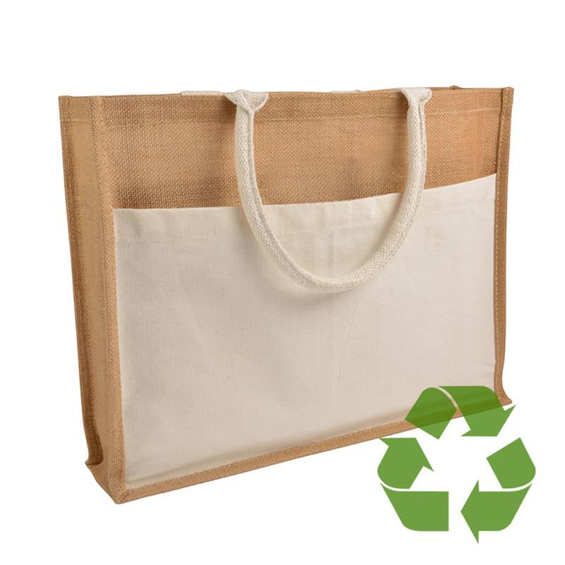 bag natural in cotone e juta interno cerato soffietto e tasca frontale