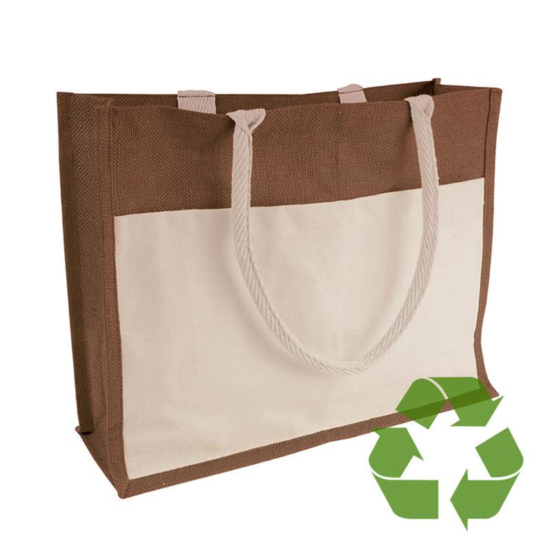 bag marrone in cotone e juta interno cerato soffietto e tasca frontale