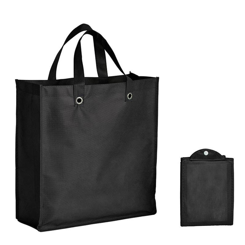 shopper pieghevole in tnt nero con soffietti e manici tnt