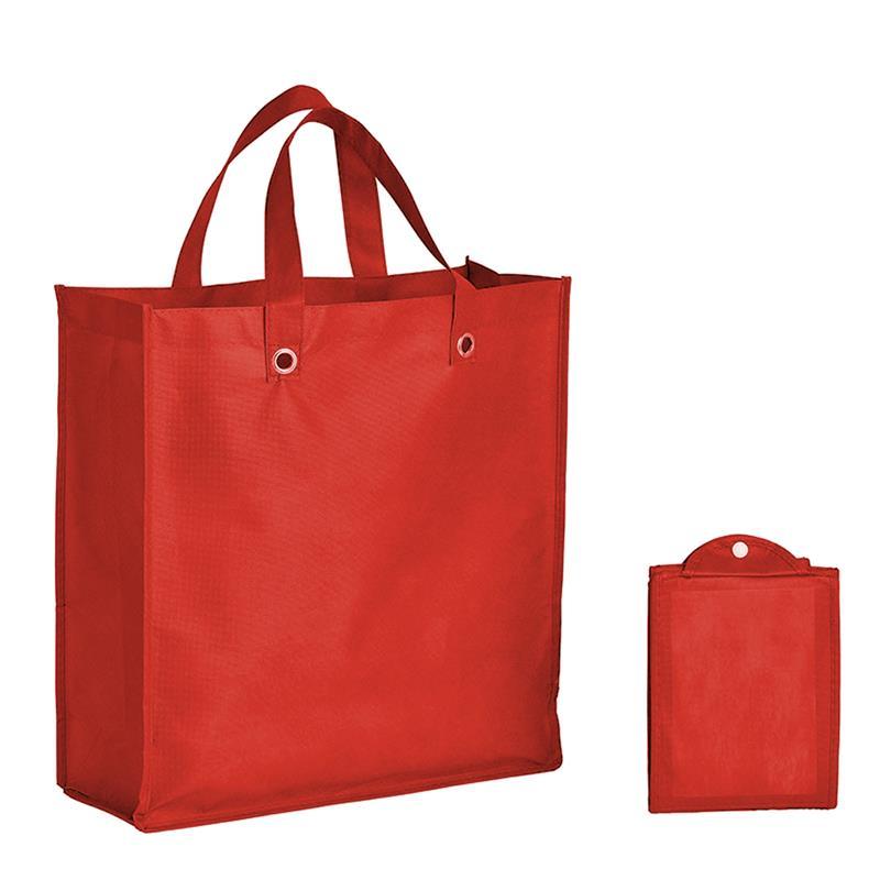 shopper pieghevole in tnt rosso con soffietti e manici tnt