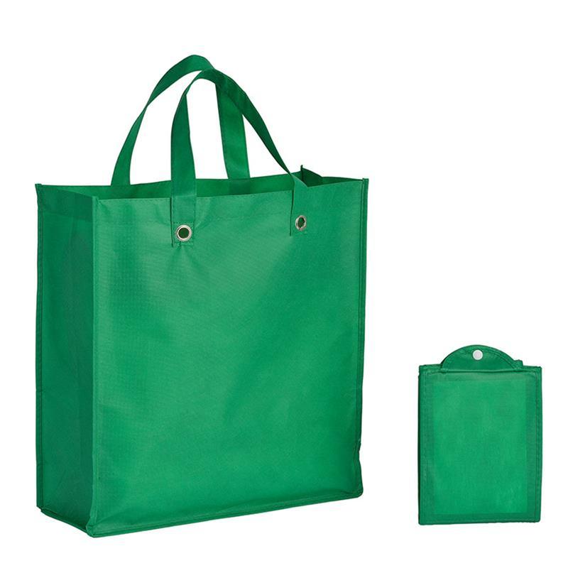 shopper pieghevole in tnt verde con soffietti e manici tnt