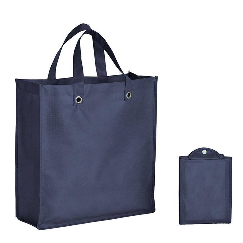 shopper pieghevole in tnt blu navy con soffietti e manici tnt