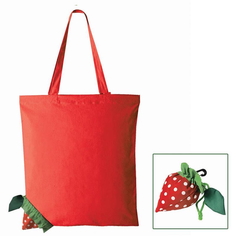 shopper poliestere rosso ripiegabile a forma di fragola