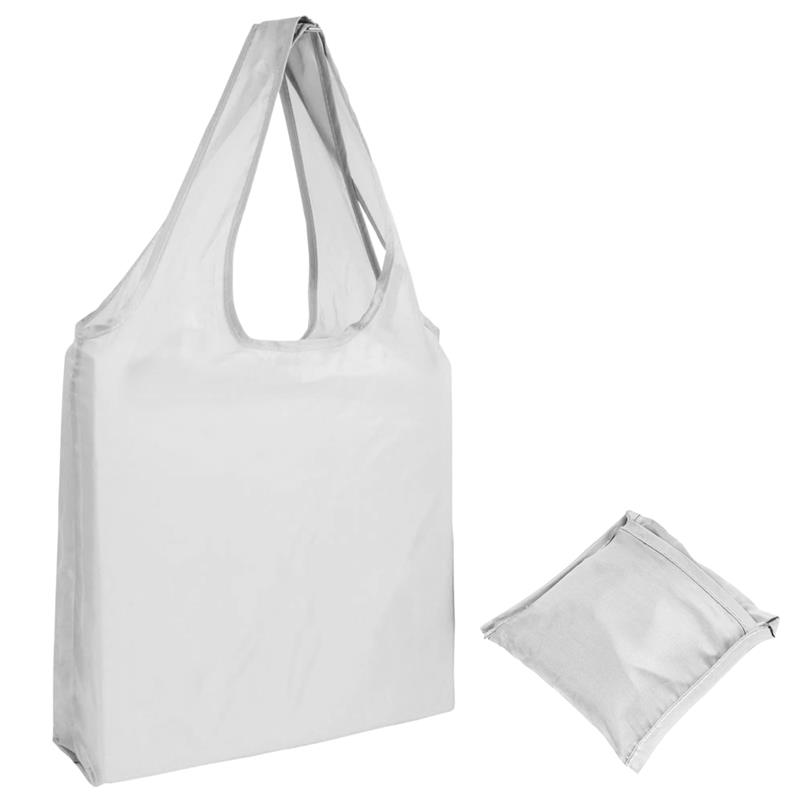 shopper in poliestere bianco senza soffietti ripiegabile in bustina