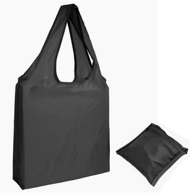 shopper in poliestere nero senza soffietti ripiegabile in bustina