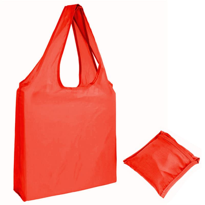 shopper in poliestere rosso senza soffietti ripiegabile in bustina