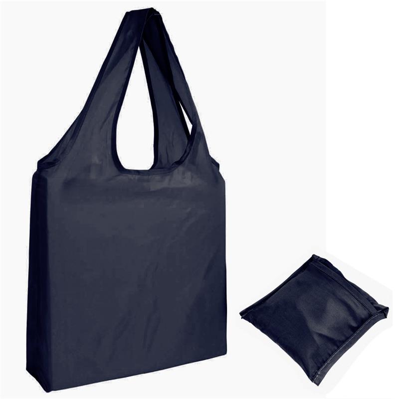 shopper in poliestere blu navy senza soffietti ripiegabile in bustina