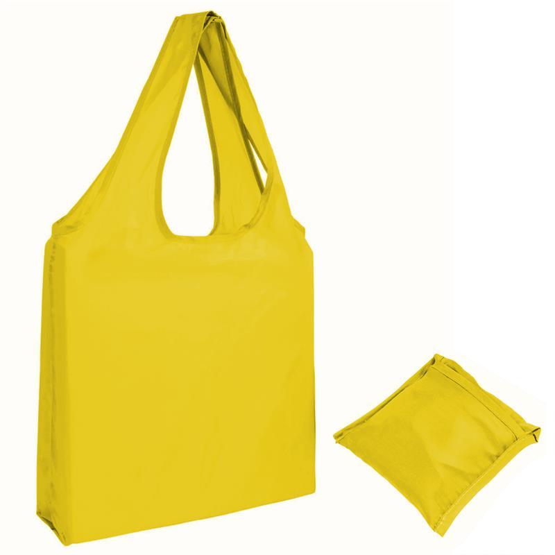 shopper in poliestere giallo senza soffietti ripiegabile in bustina
