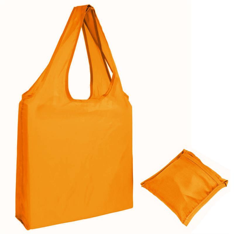 shopper in poliestere arancio senza soffietti ripiegabile in bustina